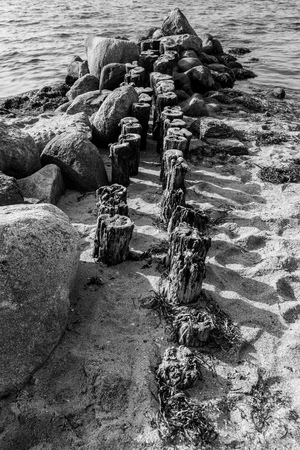 rotting: Old rotting pier in black and white Stock Photo