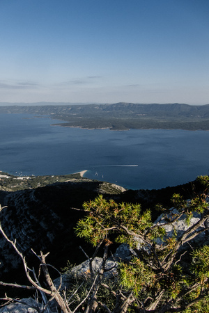 gora: A view from Vidova Gora to Zlatni Rat Stock Photo