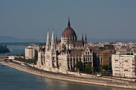 buda: View to Budapest Parliament from Buda castle