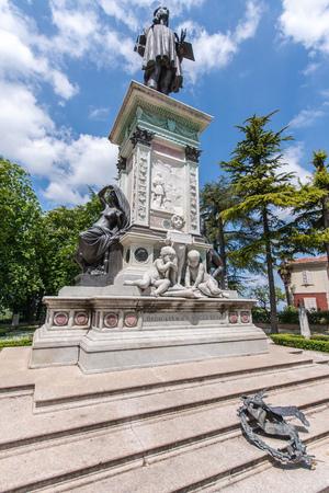 Statue of Raffael in Urbino in Italy