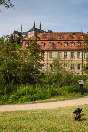 bayern old town: View to St. Michael Church in Bamberg from a park