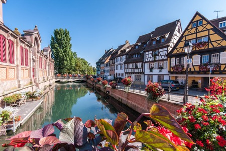 View of streetlife in Little Venice in Colmar