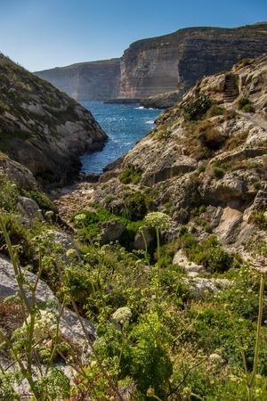 Cliffs near Xlendi bay at Gozo island