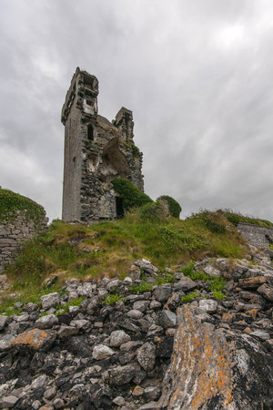 hubs: Ruin of old Boston Castle in Ireland Stock Photo