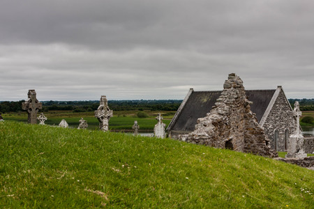 the abbot: View over the old Monastary Clonmacnoise in Ireland