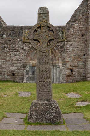 the abbot: Tombstone in the of Monastary Clonmacnoise in Ireland