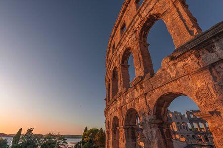 View to the amphitheatre in Pula in Croatia