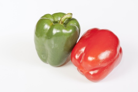 Two peppers isolated on white background.
