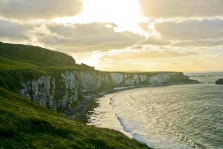 The view on beautiful irish cliff landscape and the ocean  Stock Photo
