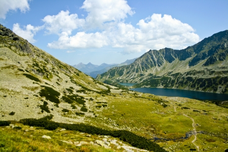 The view of polish mountains landscape with beautiful lake  Stock Photo