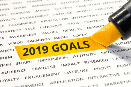 2019 goals concepts with highlighter,marker,business ideas