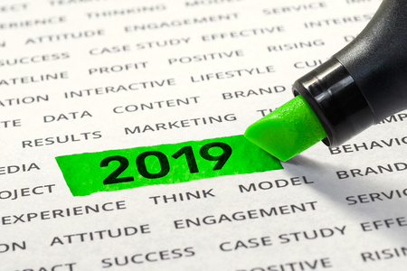 Start business for new year 2019 concepts ideas with highlighter,marker