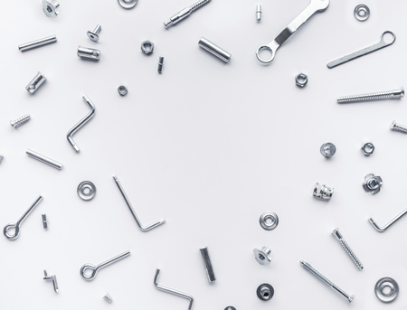 Collection set of house repair tools, wrenchs, screw, bolts on white background,flat lay pattern design Stock Photo