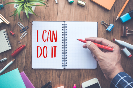 I CAN DO IT word writing on notepad and office supplies.business motivation concepts ideas Stock Photo