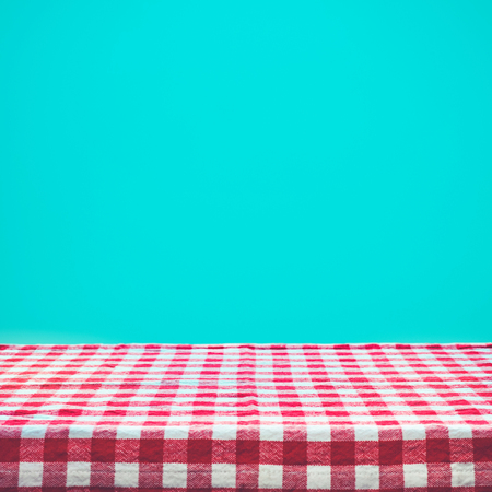 Checkered tablecloth texture top view on color background.For montage product display or design key visual layout. Foto de archivo