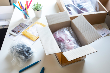 Online shopping concepts with product in box on desk table.Ecommerce,shipping delivery service.Business retail market