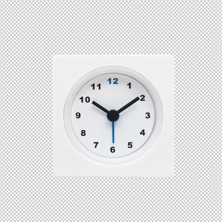 White modern,minimal clock.clipping paths