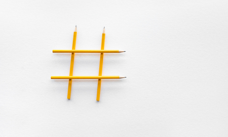 Social media and creativity concepts with Hashtag sign made of pencil.digital marketing images.power of conversation. Stock Photo