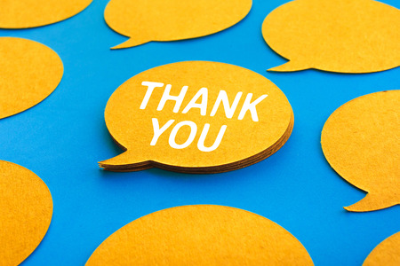 Thank you concepts with chat,speech bubble icons on blue color background.Talking and  message for social media concepts ideas
