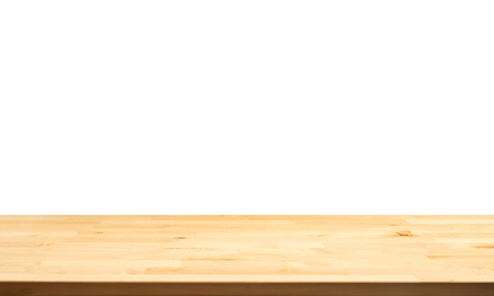 Real nature wood table top texture on white background.For create product display or design key visual layout.clipping path