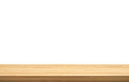 Echte Naturholz-Tischplattenstruktur auf weißem Hintergrund. Für die Produktanzeige oder das Design des visuellen Layouts. Beschneidungspfad