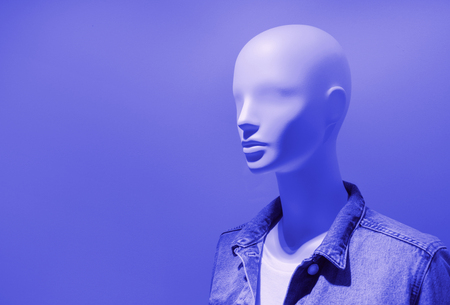 Blue color of Mannequin fashion clothing