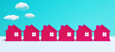 Villa or town concepts with group of red house on pastel color background.panoramic,horizontal for banner size.