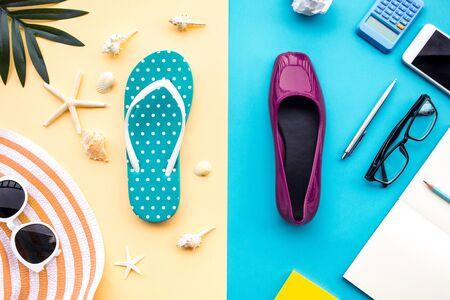 Summer vacation and job busy concepts with different lifestyle of accessory on colorful background.relaxation or happiness ideas Stock fotó