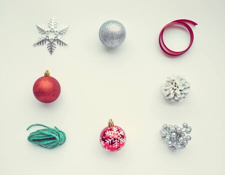 Christmas ornament on white color background.For christmas concepts or new year,celebration ideas.