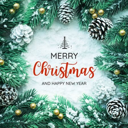 MERRY CHRISTMAS AND HAPPY NEW YEAR  typography,text with christmas ornament decoration design