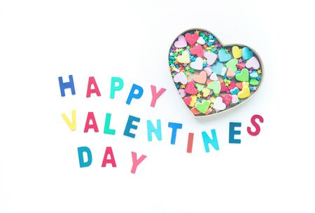 Happy valentines day with colorful heart shape in box on white  background.love, valentine,wedding concepts ideas