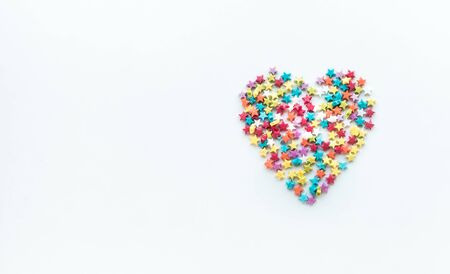 Colorful heart shape from star on white  background.love, valentine,wedding concepts ideas