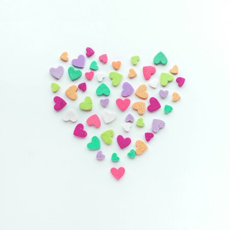 Colorful heart shape on white  background.love, valentine,wedding concepts ideas 스톡 콘텐츠