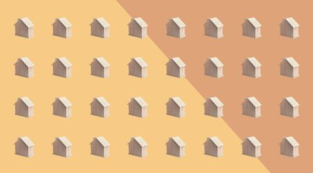 Villa or town concepts with group of wood house mock up on pastel color background.panoramic,horizontal for banner size.