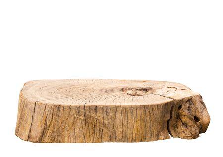 Beautiful texture of old tree stump table top on white background.For create product display or design key visual layout.clipping path Reklamní fotografie