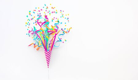 Celebration party and anniversary concepts ideas with colorful confetti,paper art on white color background.Top view design and copy space Stock fotó