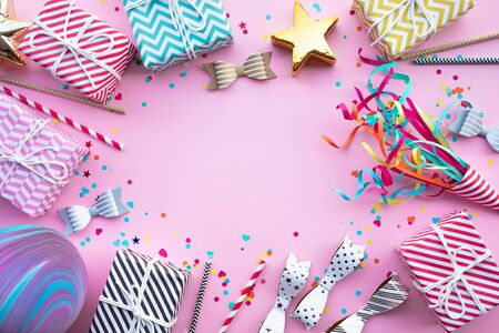 New year celebration,anniversary party backgrounds concepts ideas with colorful element,gift box present.Top view design template and copy space