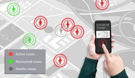 Covid-19 tracker application.Protect yourself.health and medical. virus outbreak.technology solution for life