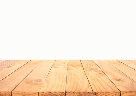 Beautiful texture wood table top texture on white background.For create product display or design key visual layout.