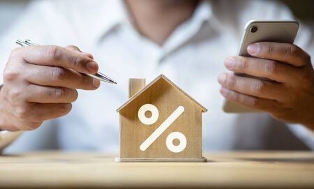Property interest rate,finance loan increase.investment planning.business real estate.profit of banking.,investor thinking strategy analysis Banque d'images