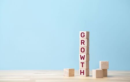 Growth and success concepts with text on wood block.financial and banking.investment motivation ideas