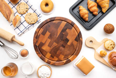 Set of breakfast food or bakery,cake on table background.cooking and eating with healthy lifestyle.top view