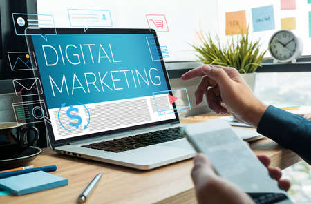 Digital marketing and e-commerce concepts. technology  global connection.business plan Stock Photo