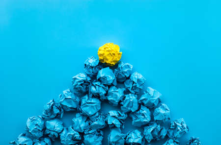 Idea and creativity concepts with paper crumpled ball in mountain shape .Think out of box.Business solution.