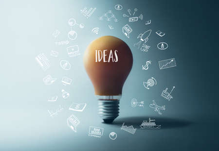 Glowing light bulb with ideas word.creativity inspiration concept ideas