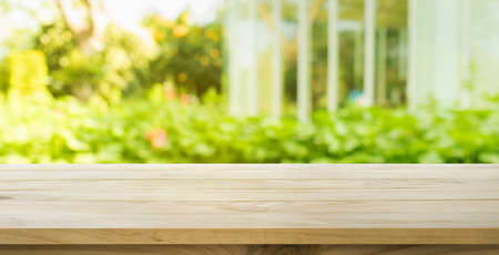 Empty wood table top on lawn green from garden in morning background.For montage product display or design key visual layout Imagens