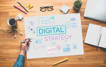 Digital strategy or business online concepts with young person thinking and planning platform ideas.communication design.