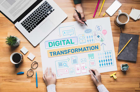 Digital transformation or business online concepts with young person thinking and planning platform ideas.communication design.communication design Archivio Fotografico