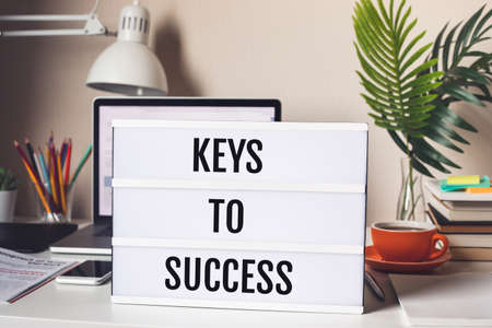 Keys to success concepts with text on light box.Business motivation