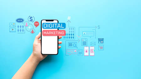 Digital marketing or business online concepts with young person holding smartphone with online platform ideas.communication design.